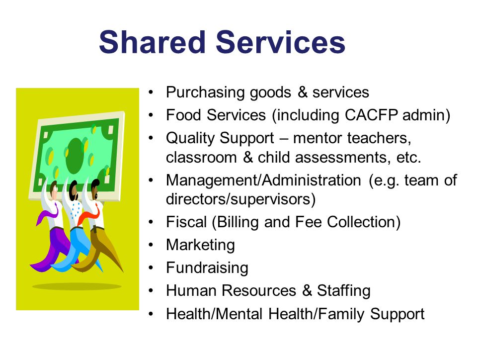 Shared Services Purchasing goods & services Food Services (including CACFP admin) Quality Support – mentor teachers, classroom & child assessments, etc.