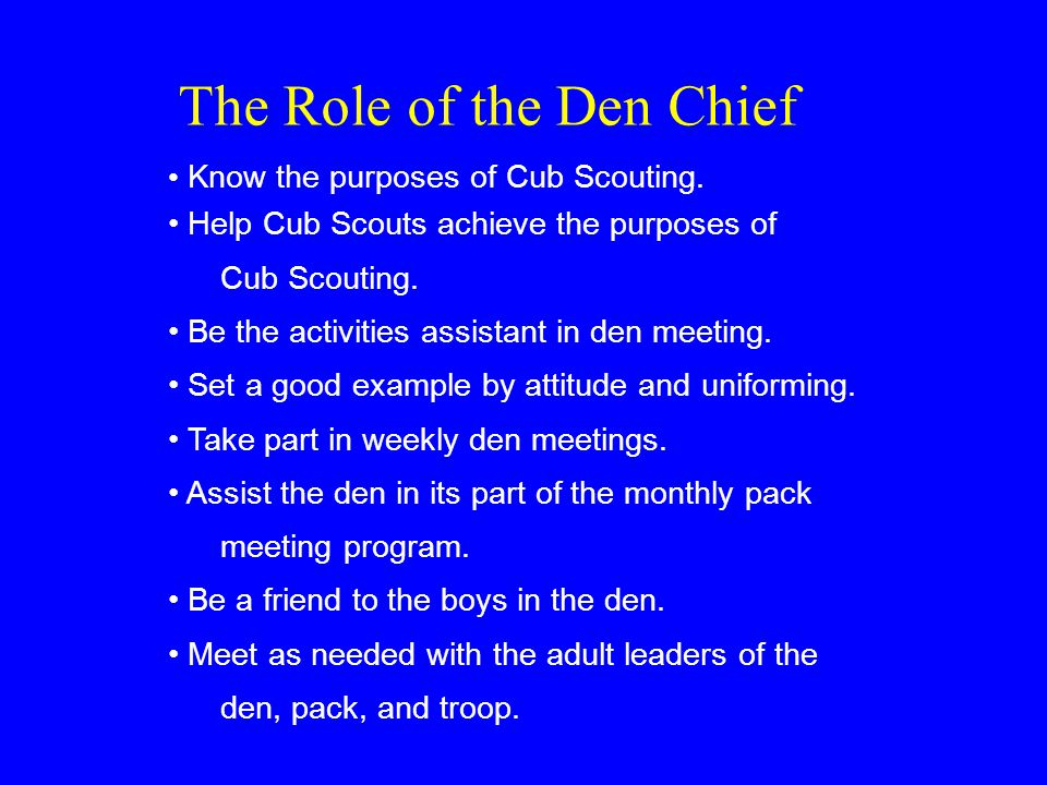 The Role of the Den Chief Know the purposes of Cub Scouting.