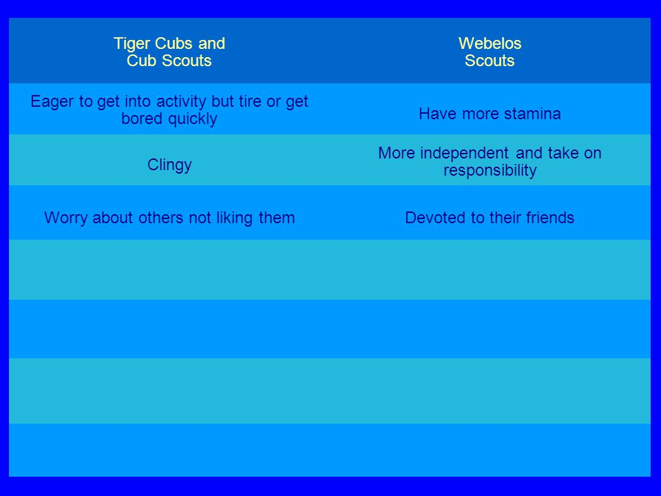 Tiger Cubs and Cub Scouts Webelos Scouts Eager to get into activity but tire or get bored quickly Have more stamina Clingy More independent and take on responsibility Worry about others not liking themDevoted to their friends