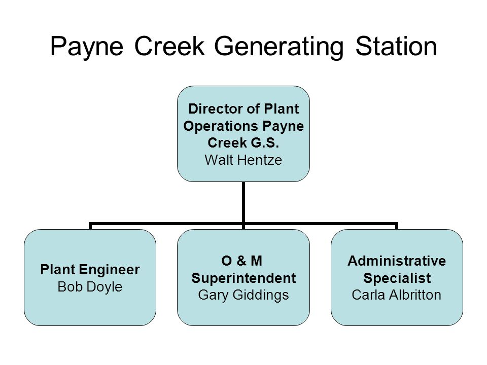 Payne Creek Generating Station Director of Plant Operations Payne Creek G.S.