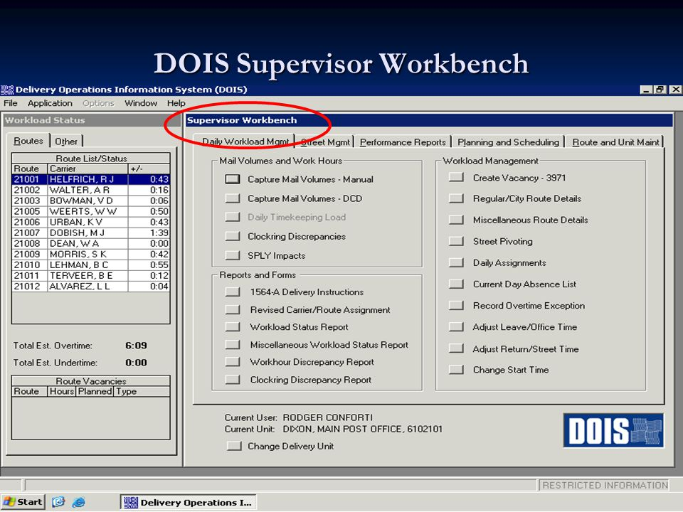 Delivery Operations Information System (DOIS) The Supervisor workbench is divided into 5 tabs 1.