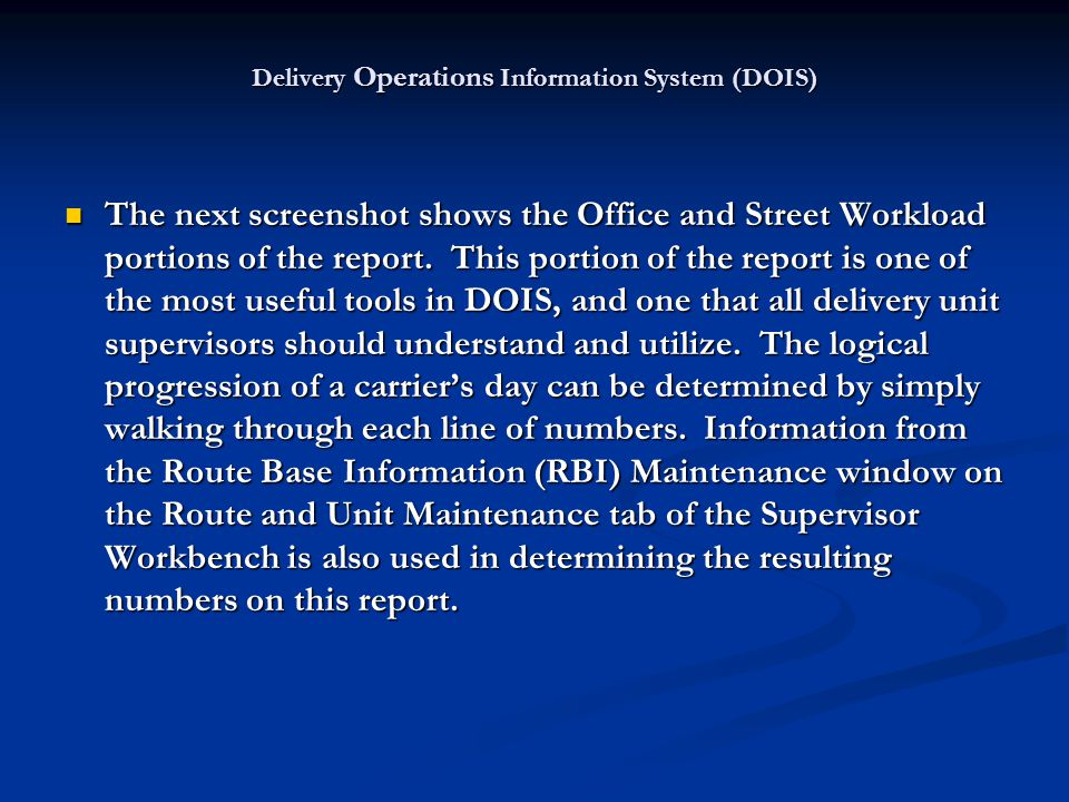 The next screenshot shows the Office and Street Workload portions of the report. This portion of the report is one of the most useful tools in DOIS, a