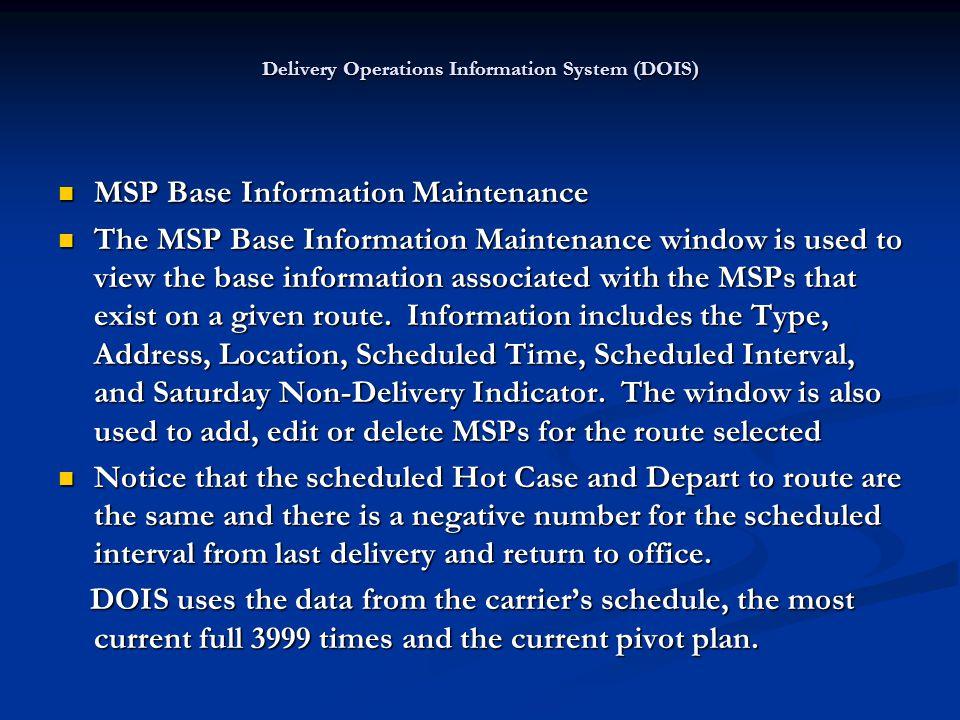 MSP Base Information Maintenance MSP Base Information Maintenance The MSP Base Information Maintenance window is used to view the base information ass
