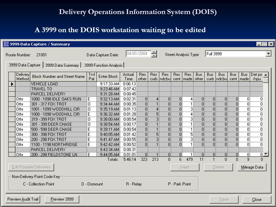 Delivery Operations Information System (DOIS) A 3999 on the DOIS workstation waiting to be edited