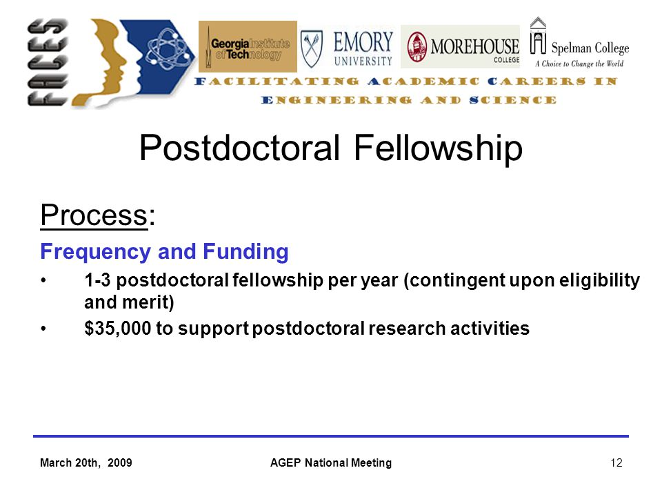 March 20th, 2009AGEP National Meeting12 Postdoctoral Fellowship Process: Frequency and Funding 1-3 postdoctoral fellowship per year (contingent upon eligibility and merit) $35,000 to support postdoctoral research activities