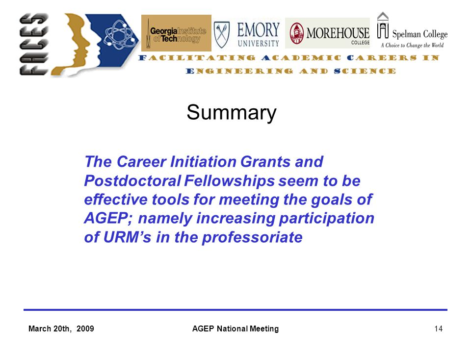 March 20th, 2009AGEP National Meeting14 Summary The Career Initiation Grants and Postdoctoral Fellowships seem to be effective tools for meeting the goals of AGEP; namely increasing participation of URM's in the professoriate
