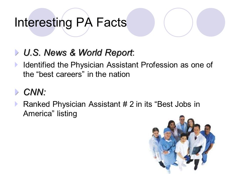 " U.S. News & World Report  U.S. News & World Report:  Identified the Physician Assistant Profession as one of the ""best careers"" in the nation  CN"