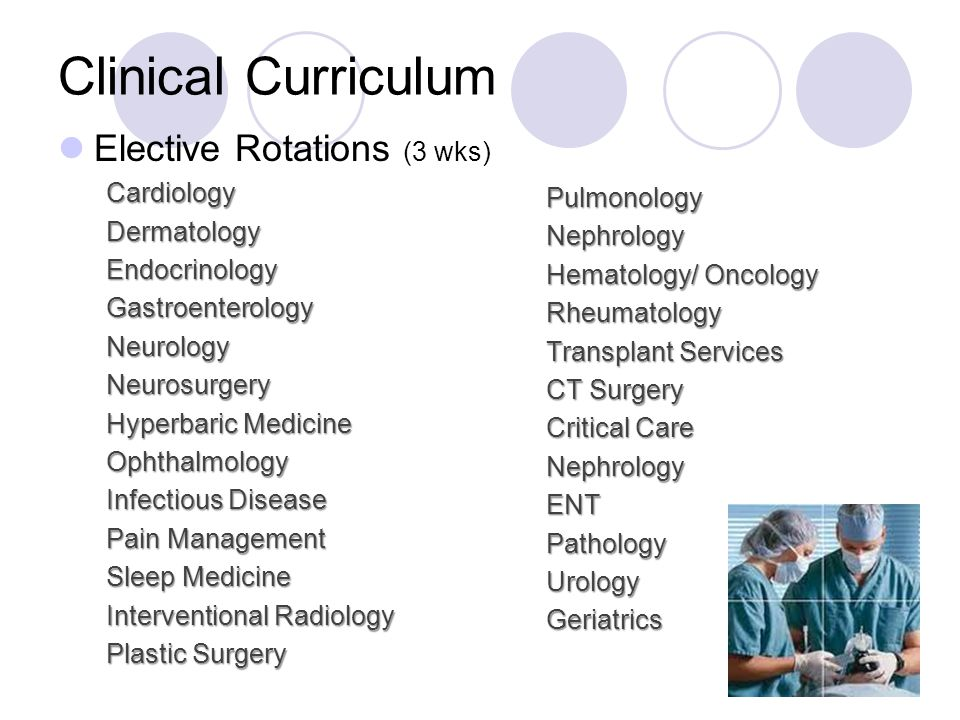 Elective Rotations (3 wks)CardiologyDermatologyEndocrinologyGastroenterologyNeurologyNeurosurgery Hyperbaric Medicine Ophthalmology Infectious Disease Pain Management Sleep Medicine Interventional Radiology Plastic Surgery PulmonologyNephrology Hematology/ Oncology Rheumatology Transplant Services CT Surgery Critical Care NephrologyENTPathologyUrologyGeriatrics Clinical Curriculum