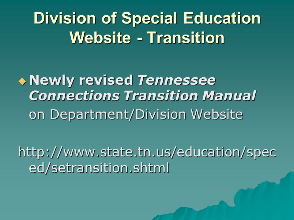 Division of Special Education Website - Transition  Newly revised Tennessee Connections Transition Manual on Department/Division Website http://www.s