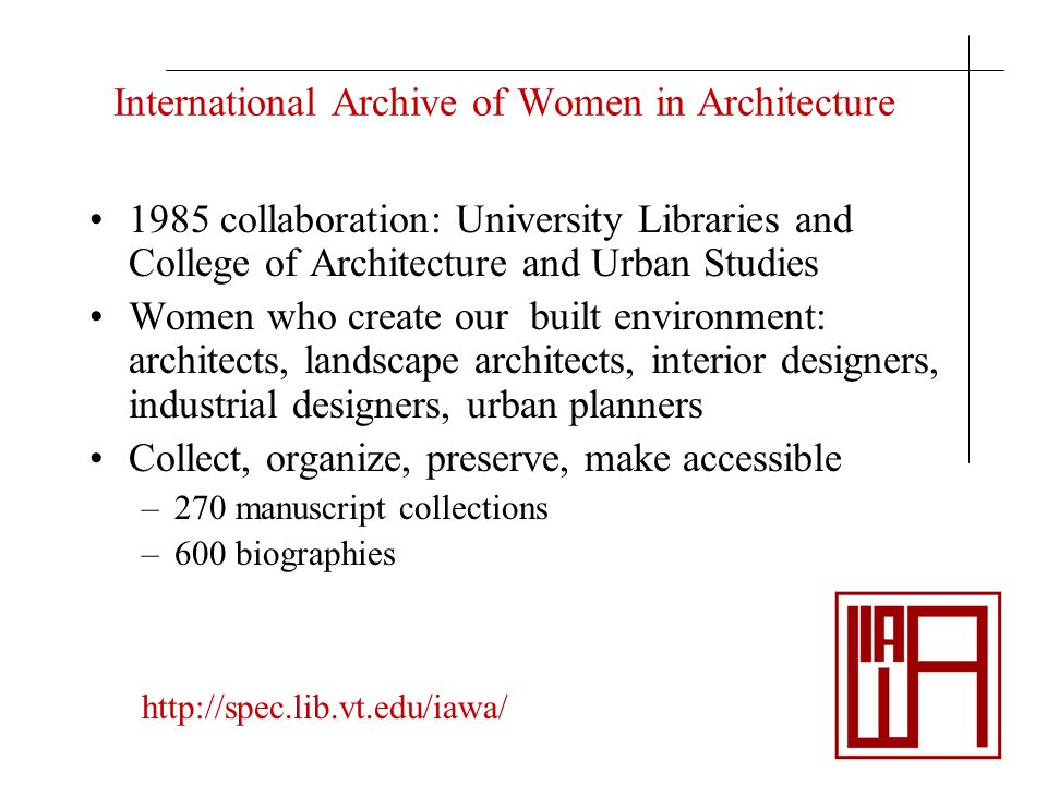 International Archive of Women in Architecture 1985 collaboration: University Libraries and College of Architecture and Urban Studies Women who create