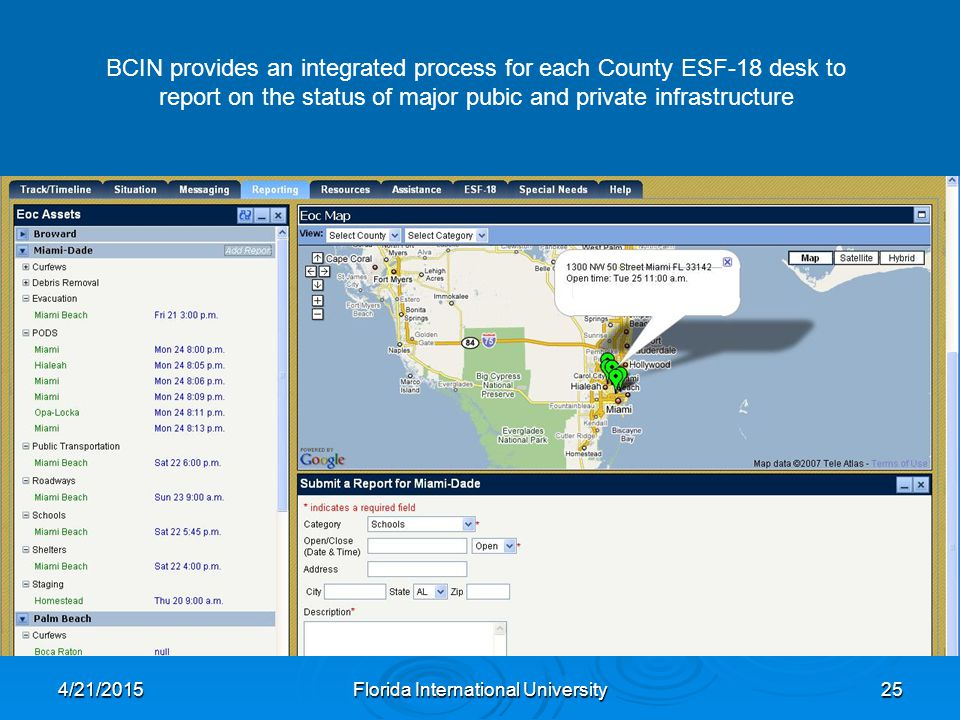 4/21/2015Florida International University25 BCIN provides an integrated process for each County ESF-18 desk to report on the status of major pubic and private infrastructure