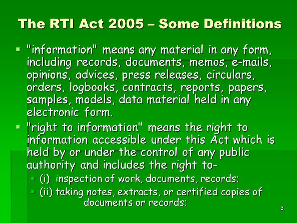 3 The RTI Act 2005 – Some Definitions 