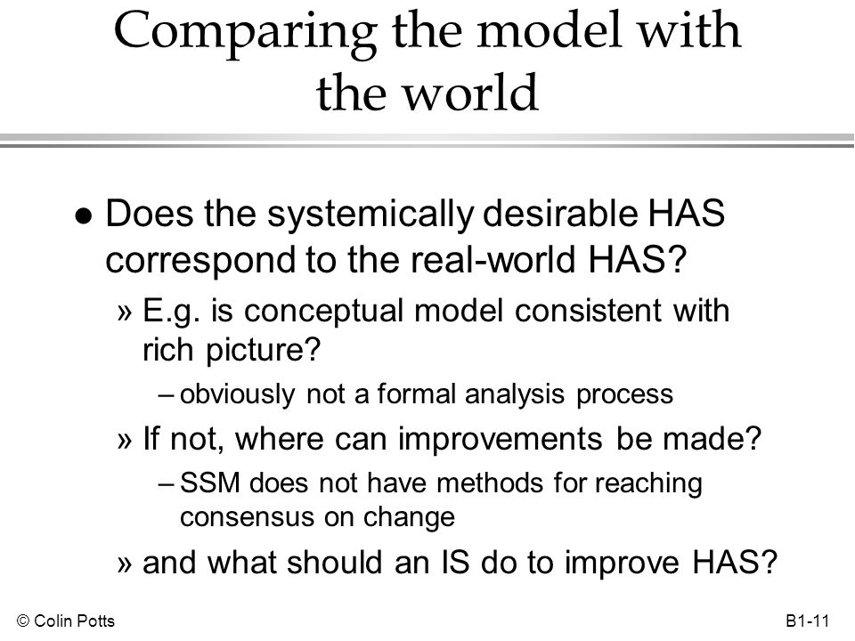 © Colin Potts B1-11 Comparing the model with the world l Does the systemically desirable HAS correspond to the real-world HAS? »E.g. is conceptual mod
