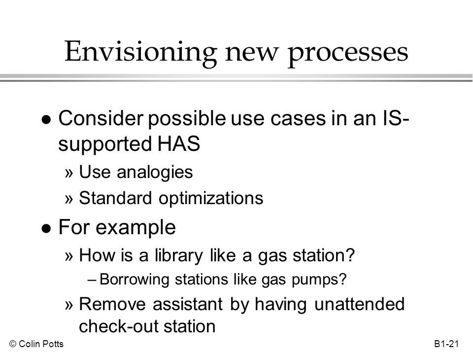 © Colin Potts B1-21 Envisioning new processes l Consider possible use cases in an IS- supported HAS »Use analogies »Standard optimizations l For examp