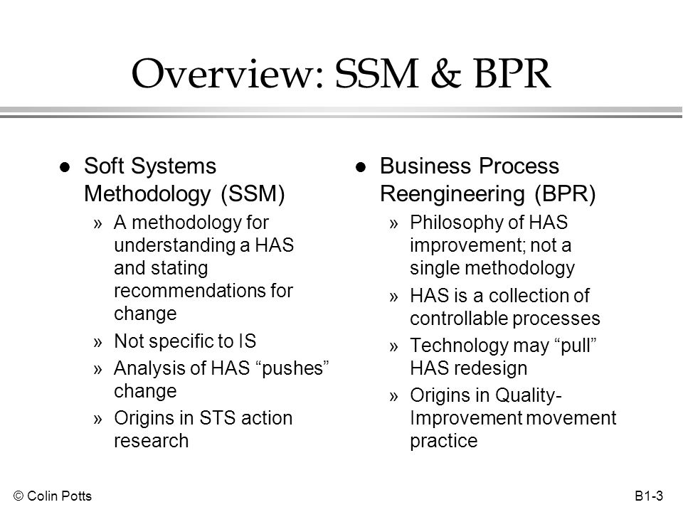 © Colin Potts B1-14 Business process reengineering (BPR) l Basic thesis: an organization operates through a series of processes »Repeatable activities, roles, procedures & rules »Processes can be modeled, supported & enacted l HAS is improved by redesigning processes Scope of improvement Local optimization (e.g.