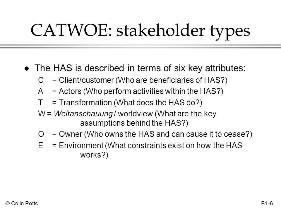 © Colin Potts B1-6 CATWOE: stakeholder types l The HAS is described in terms of six key attributes: C= Client/customer (Who are beneficiaries of HAS?)