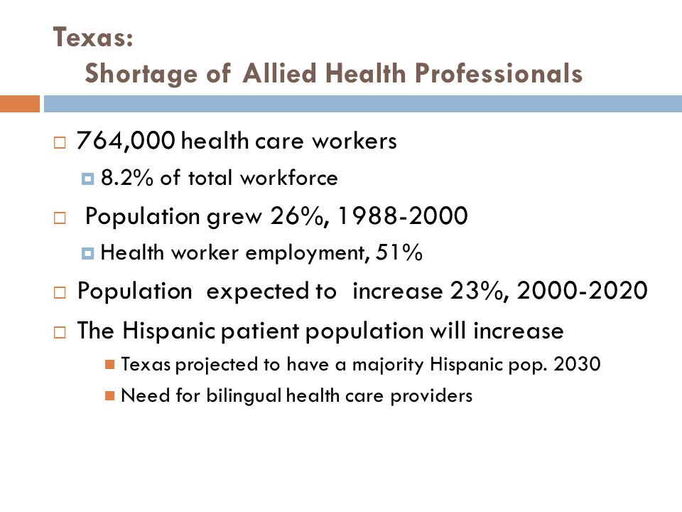  764,000 health care workers  8.2% of total workforce  Population grew 26%, 1988-2000  Health worker employment, 51%  Population expected to incr