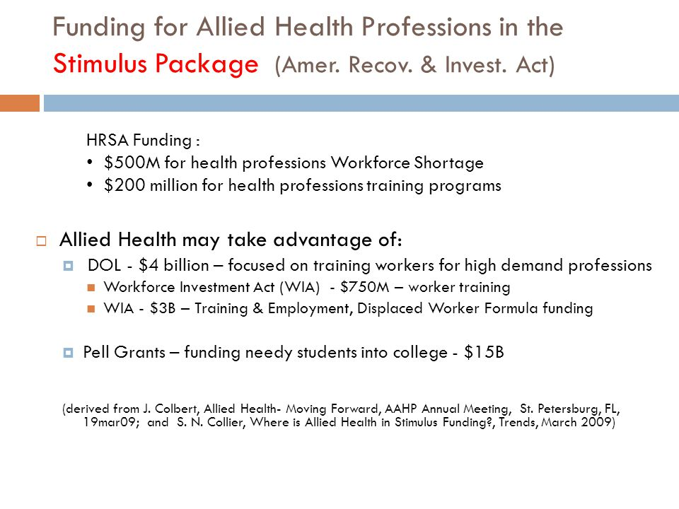 Funding for Allied Health Professions in the Stimulus Package (Amer.