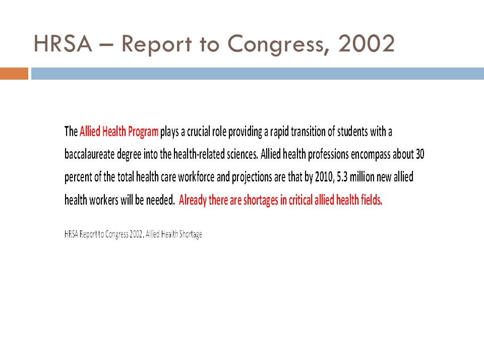 HRSA – Report to Congress, 2002