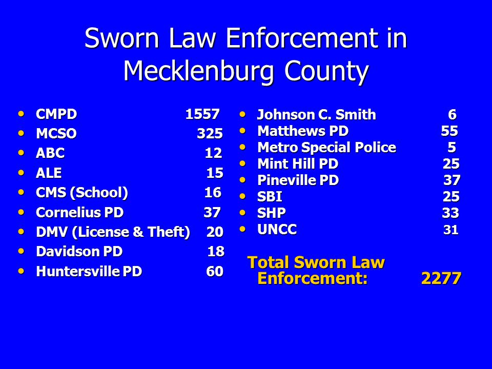 MECKLENBURG COUNTY Criminal Justice System Questions