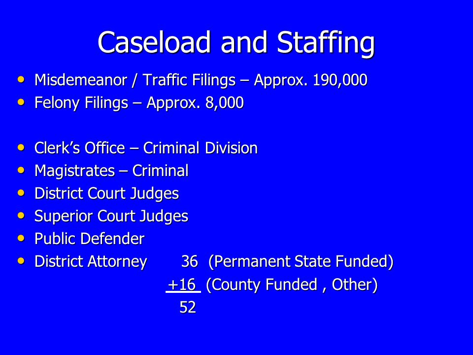 Caseload and Staffing Misdemeanor / Traffic Filings – Approx.