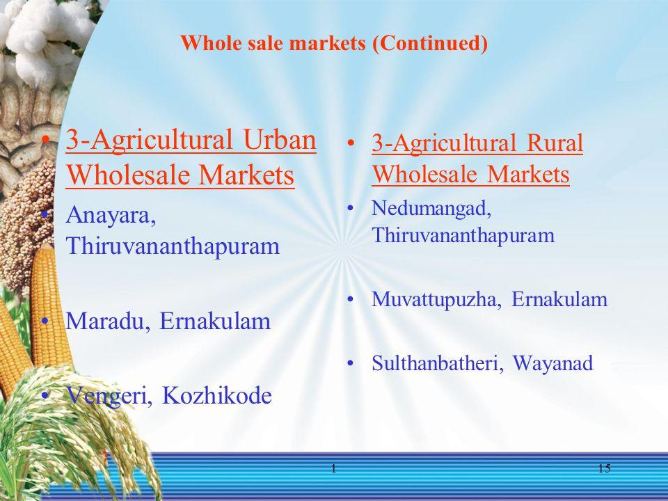 115 Whole sale markets (Continued) 3-Agricultural Urban Wholesale Markets Anayara, Thiruvananthapuram Maradu, Ernakulam Vengeri, Kozhikode 3-Agricultural Rural Wholesale Markets Nedumangad, Thiruvananthapuram Muvattupuzha, Ernakulam Sulthanbatheri, Wayanad