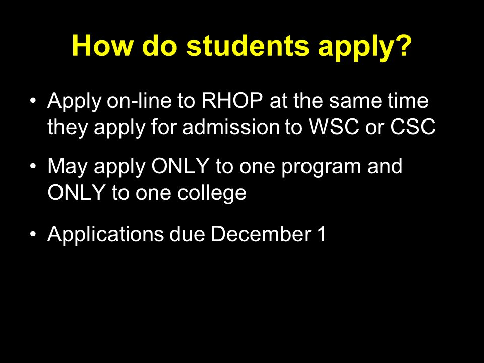 How do students apply.