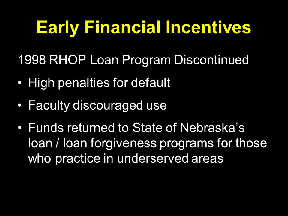 Early Financial Incentives 1998 RHOP Loan Program Discontinued High penalties for default Faculty discouraged use Funds returned to State of Nebraska's loan / loan forgiveness programs for those who practice in underserved areas