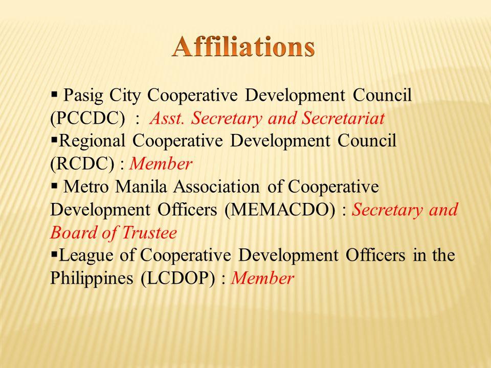  Pasig City Cooperative Development Council (PCCDC) : Asst.
