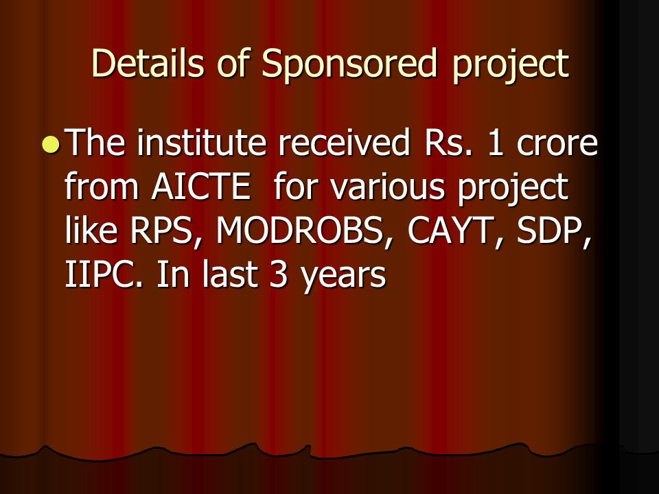 Details of Sponsored project The institute received Rs.