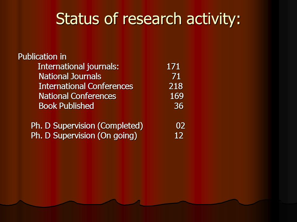 Status of research activity: Publication in International journals:171 National Journals 71 National Journals 71 International Conferences 218 International Conferences 218 National Conferences 169 National Conferences 169 Book Published 36 Book Published 36 Ph.
