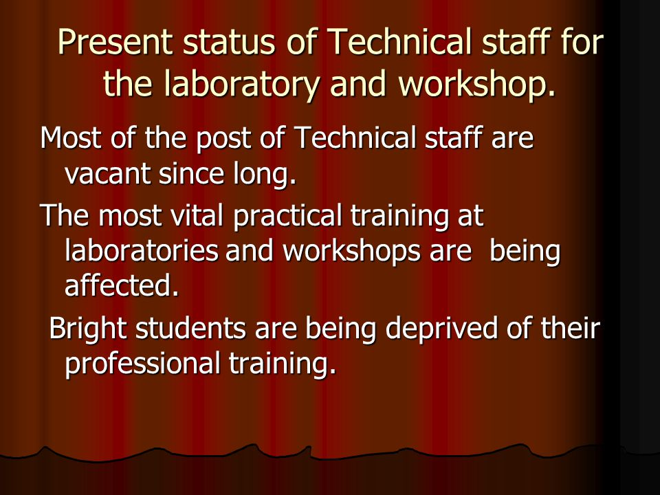 Present status of Technical staff for the laboratory and workshop.