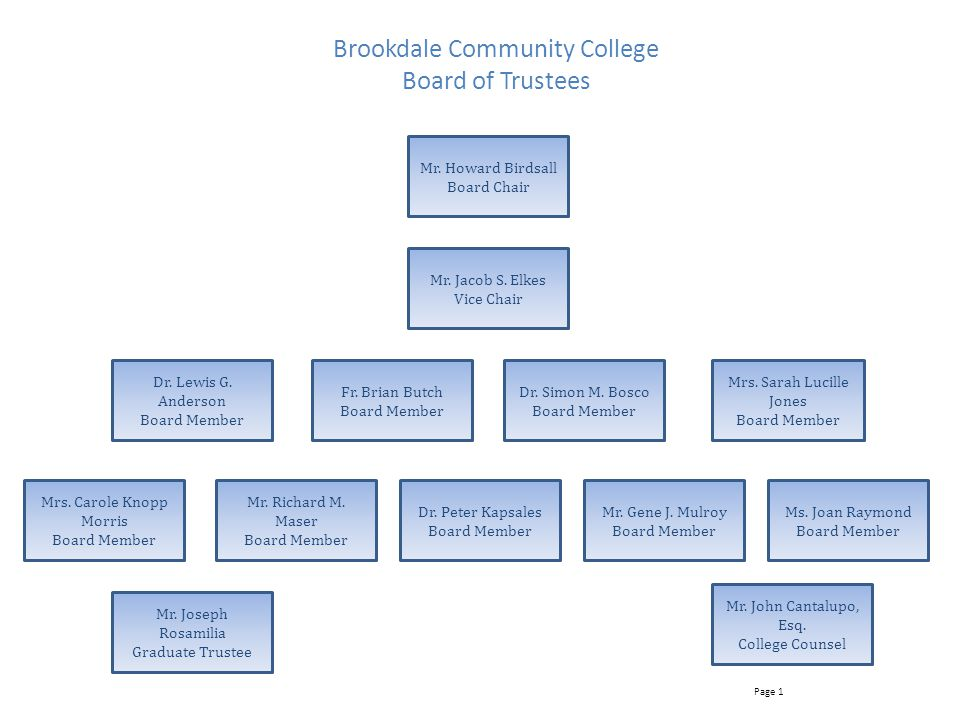 Brookdale Community College Board of Trustees Mr.Howard Birdsall Board Chair Mr.