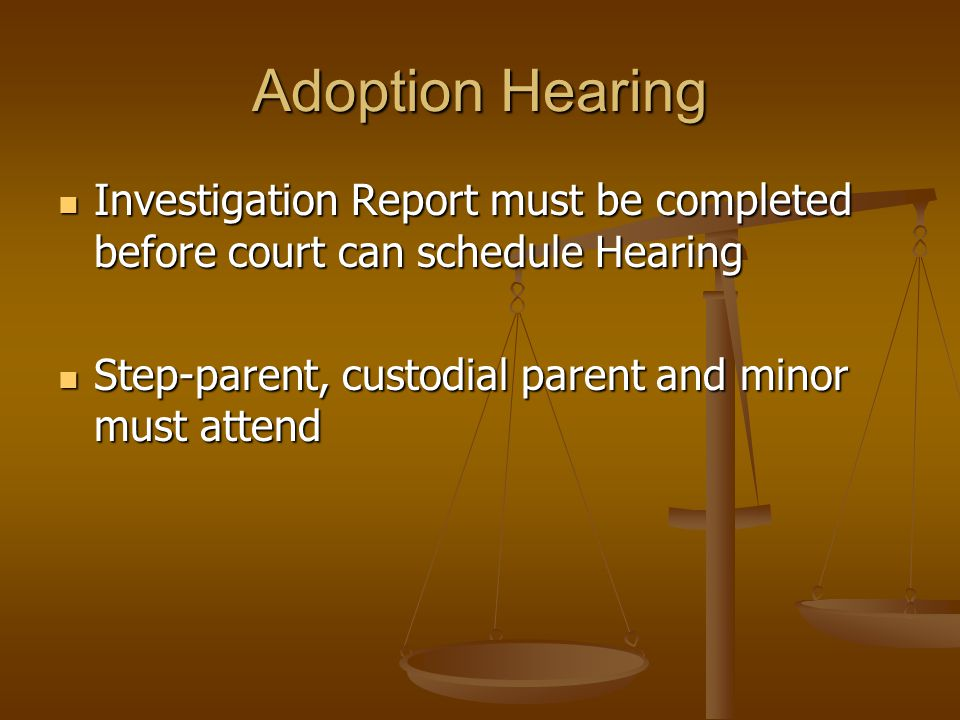 Tips If proceeding by publication for multiple children with the same parents, consolidate the cases If proceeding by publication for multiple children with the same parents, consolidate the cases All TPR proceedings heard at the Children's Court in Monterey Park All TPR proceedings heard at the Children's Court in Monterey Park Foreign born children must satisfy the Hague Adoption Requirements Foreign born children must satisfy the Hague Adoption Requirements Honesty with Social Worker re criminal record (Adam Walsh Act) Honesty with Social Worker re criminal record (Adam Walsh Act) Consistency in names throughout documents Consistency in names throughout documents Terminate all possible alleged & presumed parents Terminate all possible alleged & presumed parents Probation Officer Investigation with Independent Adoptions Probation Officer Investigation with Independent Adoptions Tax Credit/Exclusion with Independent Adoptions Tax Credit/Exclusion with Independent Adoptions Follow-up, Follow-up, Follow-up Follow-up, Follow-up, Follow-up New Birth Certificate New Birth Certificate