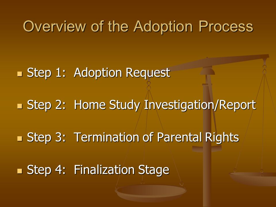 Overview of the Adoption Process Step 1: Adoption Request Step 1: Adoption Request Step 2: Home Study Investigation/Report Step 2: Home Study Investig