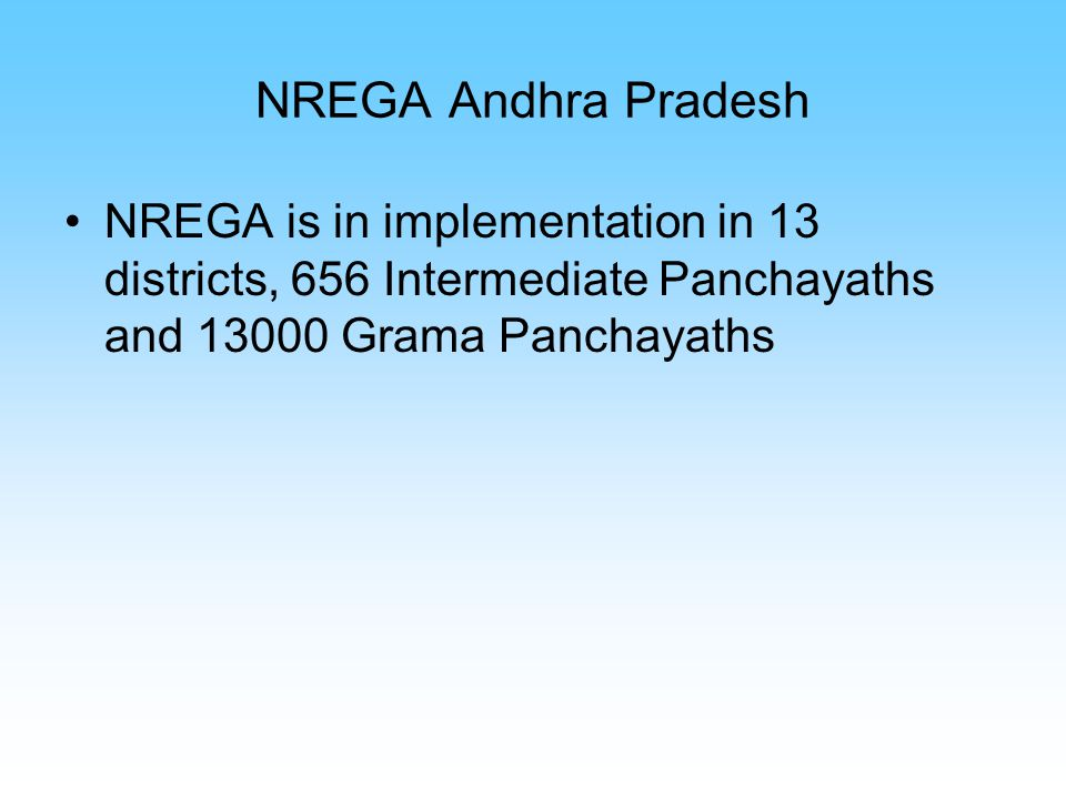 NREGA Andhra Pradesh NREGA is in implementation in 13 districts, 656 Intermediate Panchayaths and 13000 Grama Panchayaths