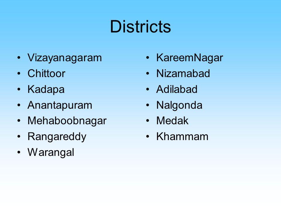 Districts Vizayanagaram Chittoor Kadapa Anantapuram Mehaboobnagar Rangareddy Warangal KareemNagar Nizamabad Adilabad Nalgonda Medak Khammam