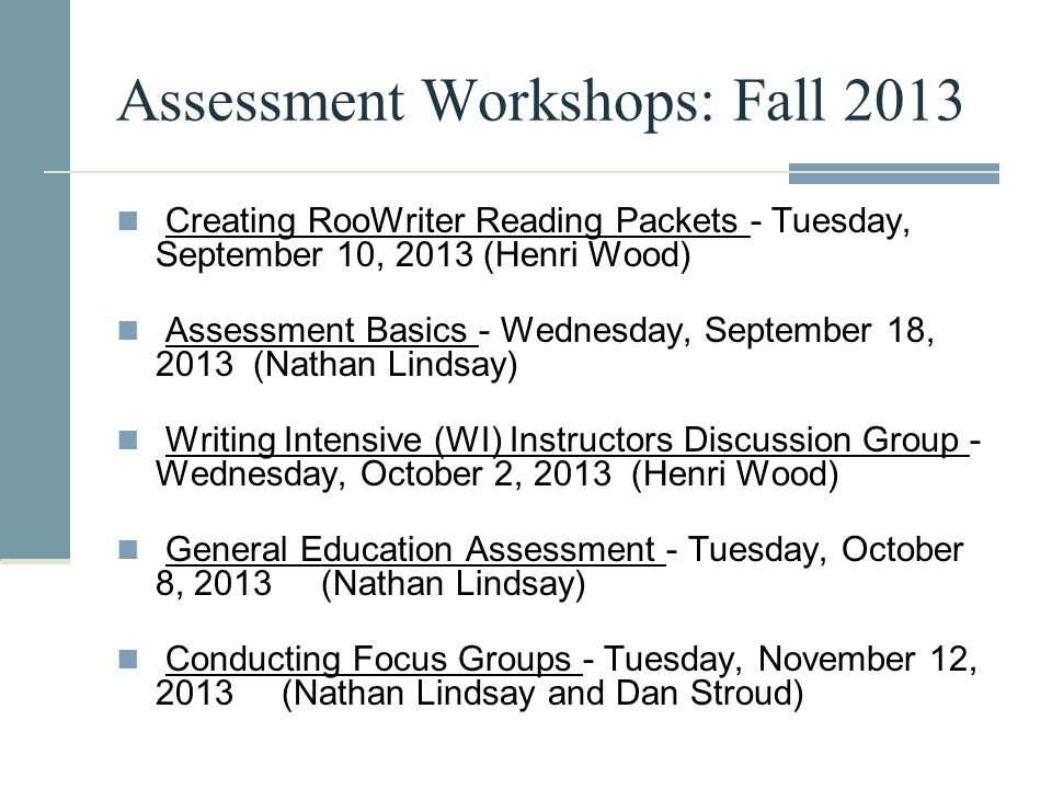 Creating RooWriter Reading Packets - Tuesday, September 10, 2013 (Henri Wood) Assessment Basics - Wednesday, September 18, 2013 (Nathan Lindsay) Writi