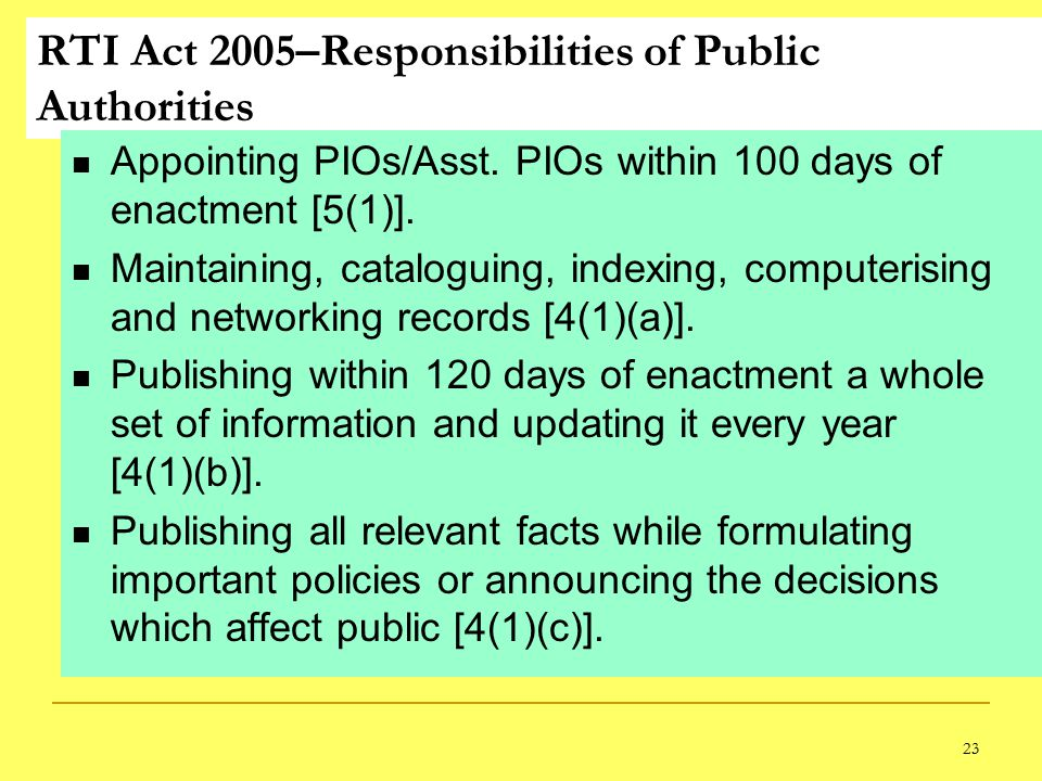 23 RTI Act 2005–Responsibilities of Public Authorities Appointing PIOs/Asst.