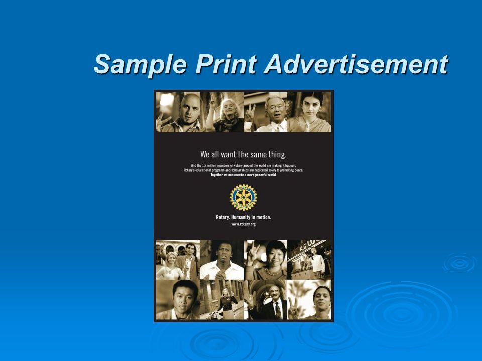 Sample Print Advertisement Sample Print Advertisement