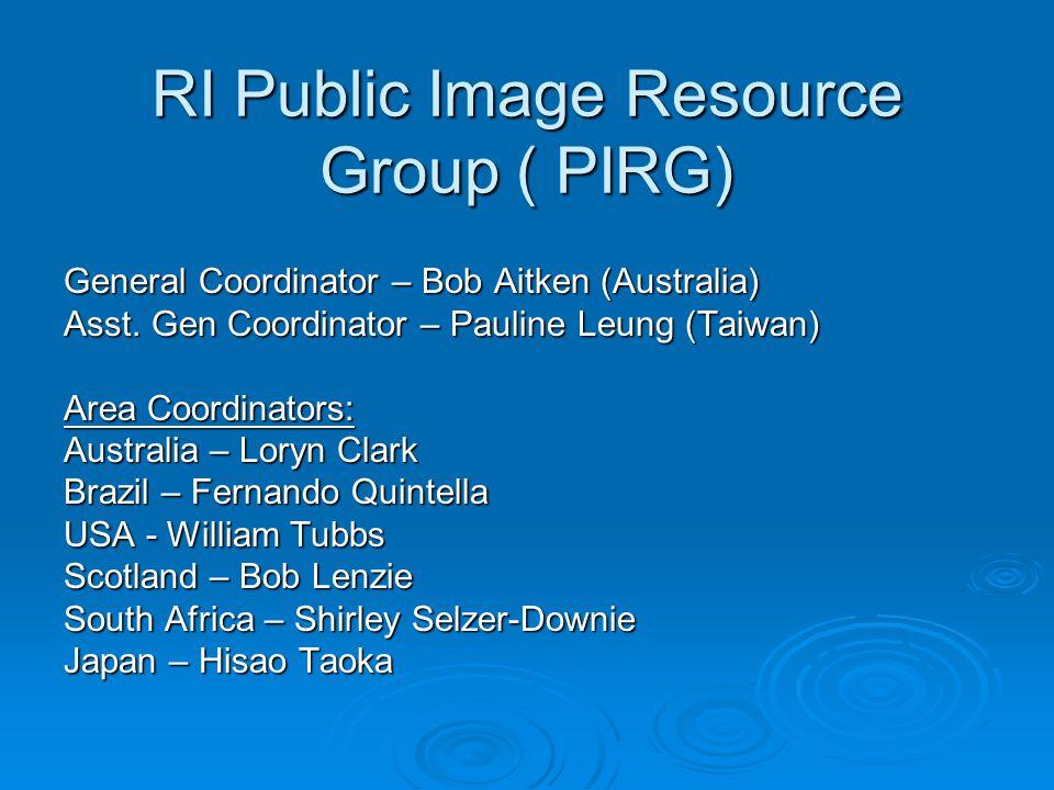 RI Public Image Resource Group ( PIRG) General Coordinator – Bob Aitken (Australia) Asst.