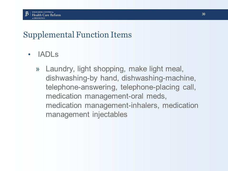 30 Supplemental Function Items IADLs »Laundry, light shopping, make light meal, dishwashing-by hand, dishwashing-machine, telephone-answering, telepho