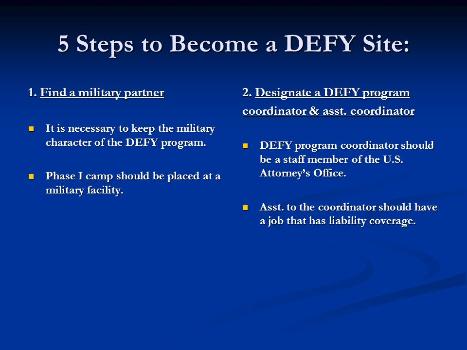 5 Steps to Become a DEFY Site: 1.
