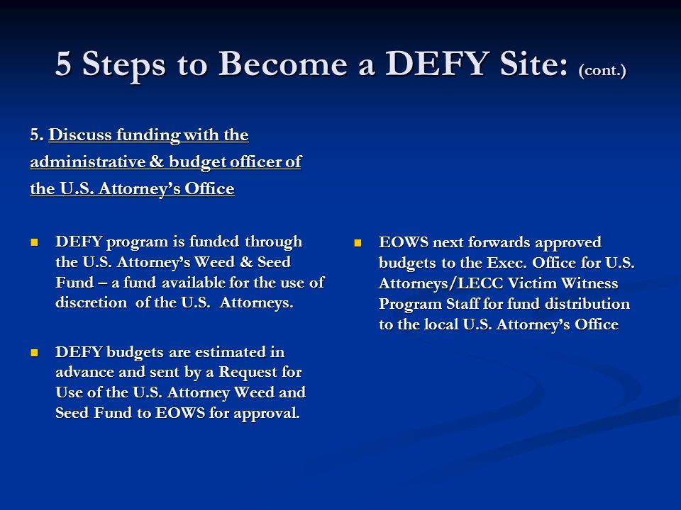 5 Steps to Become a DEFY Site: (cont.) 5.