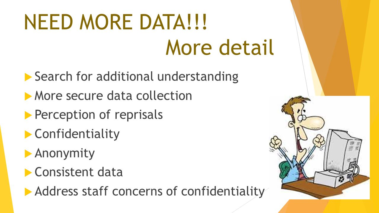 NEED MORE DATA!!! More detail  Search for additional understanding  More secure data collection  Perception of reprisals  Confidentiality  Anonym