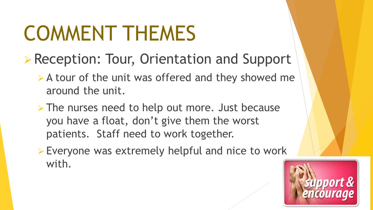 COMMENT THEMES  Reception: Tour, Orientation and Support  A tour of the unit was offered and they showed me around the unit.  The nurses need to he