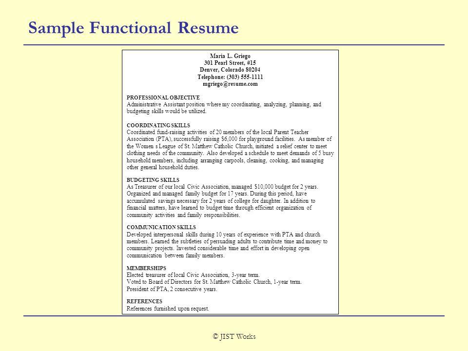 © JIST Works Sample Functional Resume Maria L.