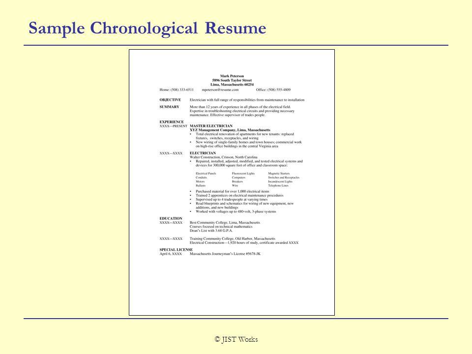 © JIST Works Sample Chronological Resume