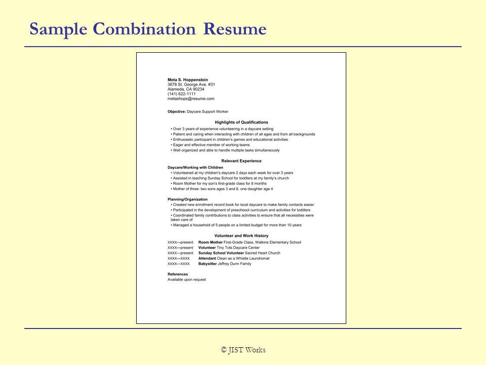 © JIST Works Sample Combination Resume