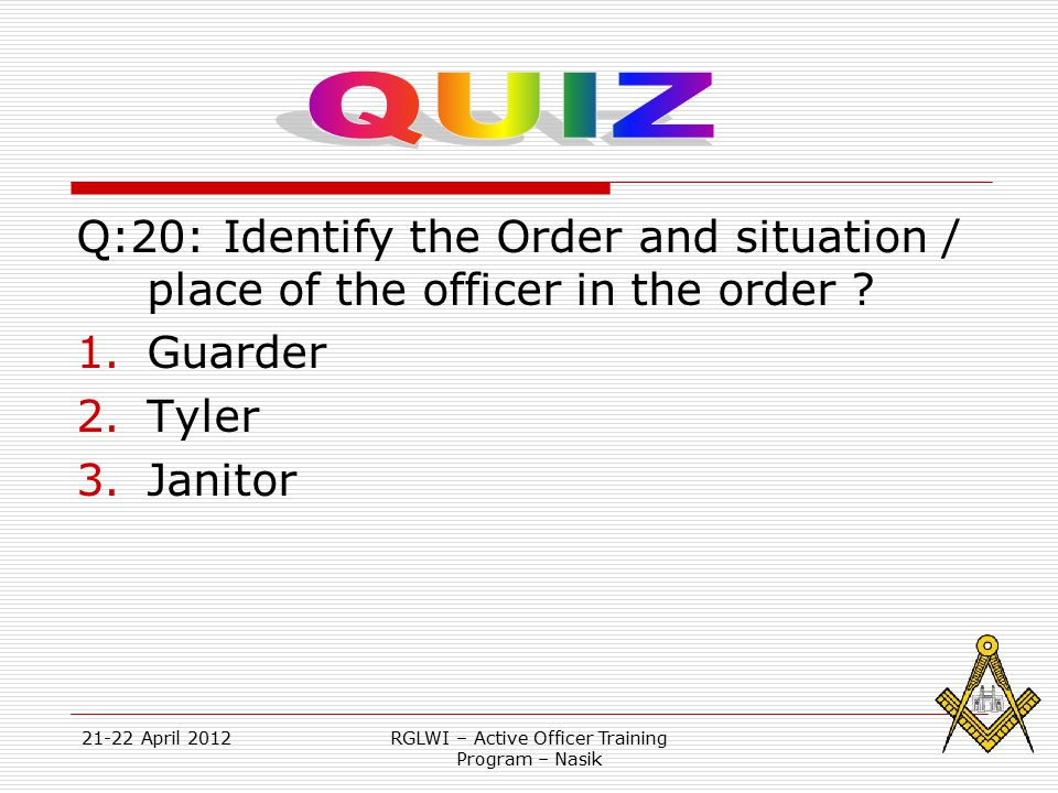 21-22 April 2012RGLWI – Active Officer Training Program – Nasik Q:20: Identify the Order and situation / place of the officer in the order ? 1.Guarder